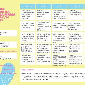 Седмична програма и меню за деца от 2 до 6 години по време на изолация